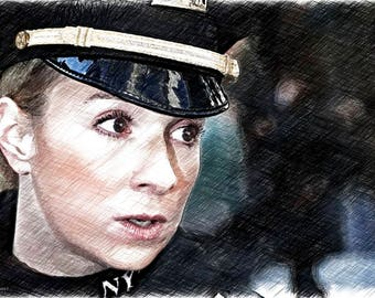Police sergeant Lady Female eyes wall art pop art canvas NYC NYPD 21X14 rendering print big eyes