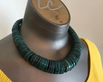 1980s necklace teal necklace bohemian necklace wood necklace ethnic necklace vintage necklace