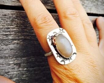 Moon & Stars Moonstone ring-Gemstone Ring-Vegan Ring-Vegan Gift-Vegan Jewelry-Gemstones-Moonstone-Art Jewelry-Birthday-Anniversary