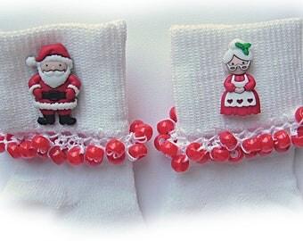 Kathy's Beaded Socks - Mr. & Mrs. Santa Claus Beaded Socks winter socks, red socks, holiday socks, green socks, Christmas socks, button sock