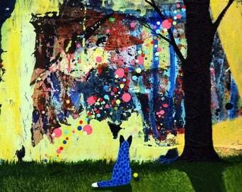 Australian Cattle Dog Blue Heeler Folk Art PRINT Todd Young painting Looking for Klimt