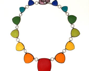 Rainbow Chakra Necklace no 4 color wheel enamel gradient red root chakra lower chakras