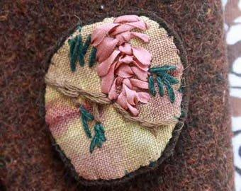 Crazy Quilt Pine Cone Hand Embroidered OOAK  Pin Brooch