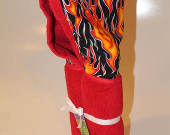 Flames hooded towel