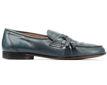 Us men 11  Blue LEATHER LOAFERS Shoes 80s Mens Vintage Slip On Dusty Blue Moccasins Retro Penny Tassel Gift for Men Swiss sz Eur 45 Uk 10.5