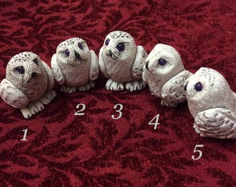 Snowy Owl hand sculpted figurine ...sculpey polymer clay bird sculpture numbered collectible