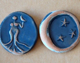 2 Handmade Ceramic Mosaic tiles - Midnight Venus and Moon - Artisan Cabochons to use in Jewelry or as Adornments -