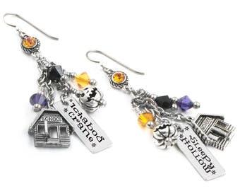 Halloween Earrings, Sleepy Hollow Earrings, the Headless Horseman, Dangle Earrings with engraved charms