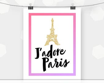 "Paris Eiffel Tower Art Print - Print Yourself - 8x10"" Poster - DIY Printable"