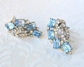 Vintage Something Blue Emerald Cut Rhinestone Earrings Clip Silver Wedding Bridal Formal Cocktail Evening Light Sapphire Costume Jewelry 50s