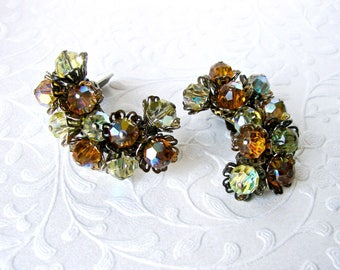 Unique Crystal Climber Earrings Vintage Costume Jewelry Climbers Clip Earring Amber Yellow Aurora Borealis Cocktail Formal Ballroom Pageant