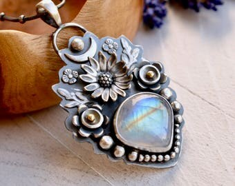 Rainbow Moonstone Necklace, Botanical Jewelry, Sunflower Necklace, Silver Flower Jewelry, Metalsmithed Silver and Stone, Artisan Jewelry