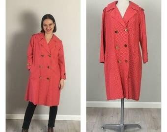Vintage 60s MOD oversized Red polkadot jacket   Free Size