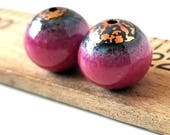 Raspberry Enamel Round Copper Beads