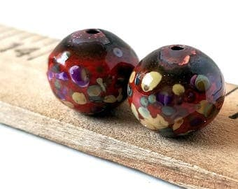 Red Enamel Round Copper Beads