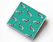 Handmade Vinyl Moo Square Card Holder - Dalmatian Green / case, vinyl, snap, wallet, paper, mini card case, moo case, square, dog