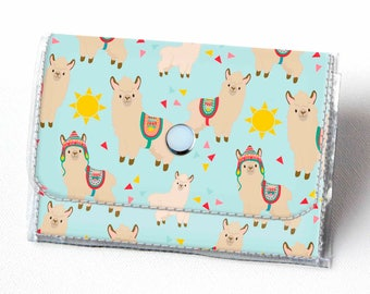 Handmade Vinyl Accordion Wallet - Sunny Alpaca / llama, small wallet, snap, cute, card case, vinyl wallet, women's wallet, zipper