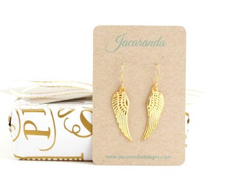 Angel Wing Earrings - Stocking Stuffer Gift - Gift For Woman - Christmas Gift For Daughter - Gift For Her - Gold Wing Earrings