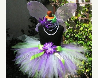 "SUMMER SALE 20% OFF Green and Purple Pixie Tutu -Believe - Includes a custom 11"" sewn tutu - Perfect for Birthdays, Recitals, and Halloween"