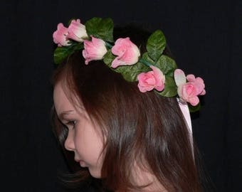 SUMMER SALE 20% OFF Floral Fairy Crown, Flower Girl Head Wreath, Made to Match Your Tutu