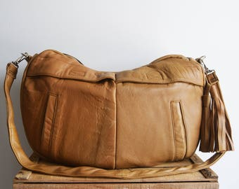 light brown bag, leather hobo bag, leather diaper bag, everyday leather bag, recycled leather bag, large leather bag, oversized bag,