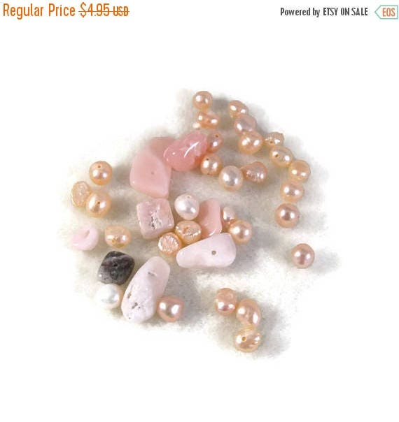 Memorial Day SALE - Gemstone Bead Mix,Pink, White, Cream Gemstone Grab Bag, 37 Beads for Making Jewelry, Assorted Shapes and Sizes (L-Mix7c)