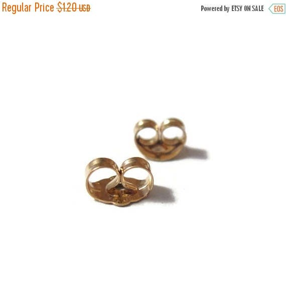 Summer SALEabration - Gold Earring Backs, Gold Filled Ear Nuts, 6mm x 4.5mm, 2 Pieces, One Set of Gold Earring Backs for Jewelry (F 7041f)