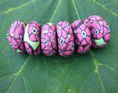 Adorable Set of Polymer Clay Beads in Khaki Green With Fuchsia Flower Blossoms