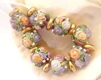 8 Floral Beads & 9 Golden Spacers Handmade Lampwork