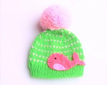 Girls Nautical Fair Isle inspired Pink WHALE Knit Pom Pom Hat Beanie, girls whale apparel, nautical whale kids apparel, kids apparel