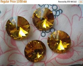 SALE 20% Off Golden Topaz 18mm Rivoli Chinese Crystal 4 Pcs
