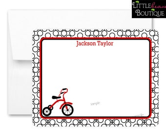 Kids Personalized Stationery,Tricycle Notecards,Red Tricycle,Thank you Notes,Flat notecards,Boys Notecards,Thank you Notes,children