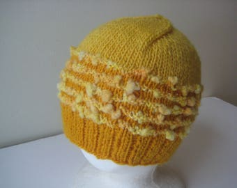 yellow knit hat wool cap