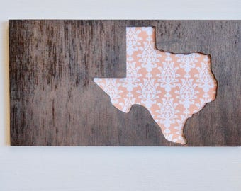 Texas- Orange Sign - Farmhouse - Rustic - Wood Stained - READY TO  SHIP - In Time For Christmas-  Order By December 19th