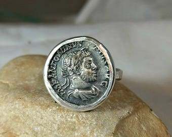 Statement Ring,  Roman  coin silver ring,  authentic ancient  coin, sterling silver and coin ring, ancient coin jewelry