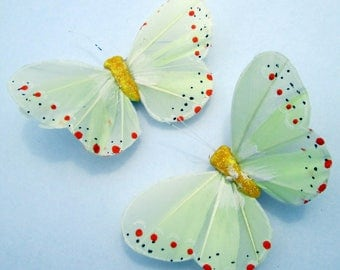 Butterfly Hair Clips Yellow feather butterfly Yellow Butterflies Hair Ornament hand made hair clips by Ziporgiabella