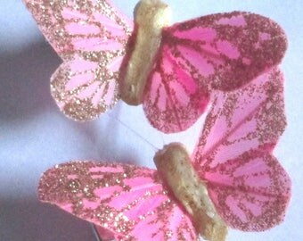 Butterfly Hair Clips small Pink and gold glitter Monarch Butterfly Accessory feather butterfly hand made hair clips by Ziporgiabella