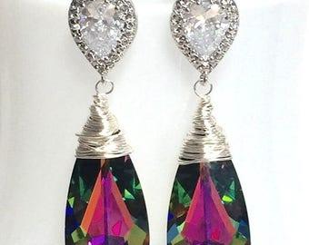 20% OFF Swarovski Crystallized Teardrop Earrings Vitrail Medium Crystal Bridesmaid Gift Bridal Jewelry Purple Teal Silver Long CZ Cubic Zirc