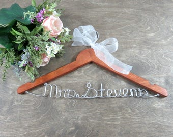 Personalized Hangers - Gifts for Her - Bride Wedding Hanger - Wedding Shower Gift - Wedding Hanger Name - Wedding Keepsake - Coat Hanger
