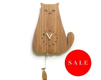 Cute Cat wall clock decor, sales, fish, wood wall decor, Discount