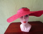 Crownless Red Straw Wide Brim Hat Harrods Dept Store London Italy  Sun Derby Church Easter