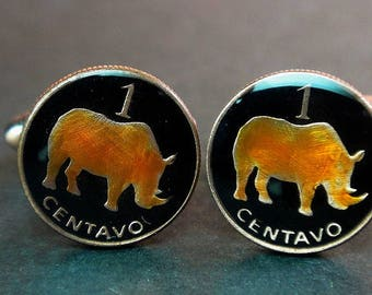 Mozambique enamelled coin cufflinks   Rhino 15mm.  Rhinoceros