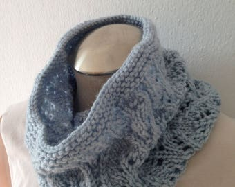 Hand Knit Cowl Neck Scarf in silver blue, Chunky Cowl, Neck Scarf, Infinity Scarf, lace cowl, accessory for her