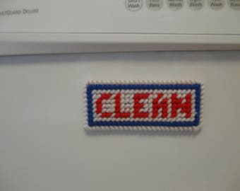Red, White and Blue Clean/Dirty Magnetic Sign for Dishwasher