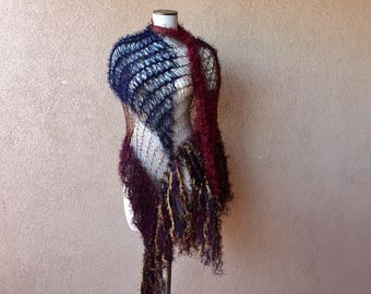 Shawl Wrap Drape Knit Accessories in Dark Red Maroon, Navy Blue and Gold Knit Scarf Cosplay Fringe Shawl by Stevie Nicks Shawl Designer
