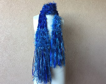 Cobalt Blue Scarf, Sapphire Royal Blue with Silver, Hand Knit with Fringe, Sparkles, Navy, Teal Turquoise Metallic Fringe