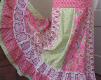 Girly Pinks Gathered Tiers Patchwork Maxi Skirt Bohemian