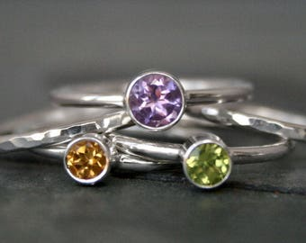 Lavender Fields Stacking Rings - Amethyst, Citrine & Peridot Gems, Sterling Silver Set of Five Faceted Gemstone Stackable Stack 5 Spring Gem