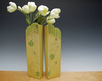 Flower vase pair in Buttercup Yellow w. Lime green stripes & Polka dots and Navy Detail, Victorian modern Home decor