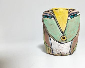 """Owl art, ceramic owl sculpture, whimsical, colorful owl figurine, 3.5"""" tall, """"Owl Person Singing the Dream of Love into Being"""""""